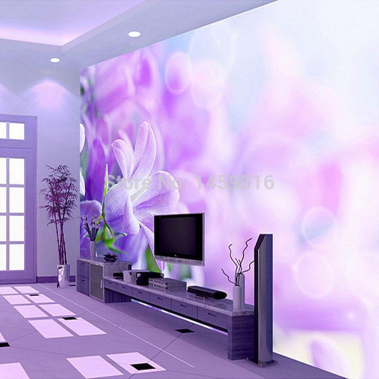 Popular Purple Flower Wallpaper From China Best Selling Purple Flower Wallpaper Suppliers Wallpaper Living Room Wallpaper Decor Floor Wallpaper