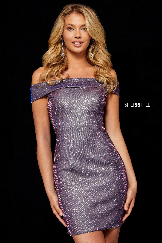 41d1f35bbd9 Sherri Hill 52355 Electric Purple Glitter off the shoulder short dress.  Homecoming Dresses