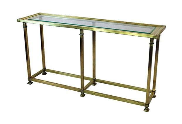 Captivating Vintage Brass Console Table. Beautiful Brass And Glass Console Table With  Tiered Framed Top And