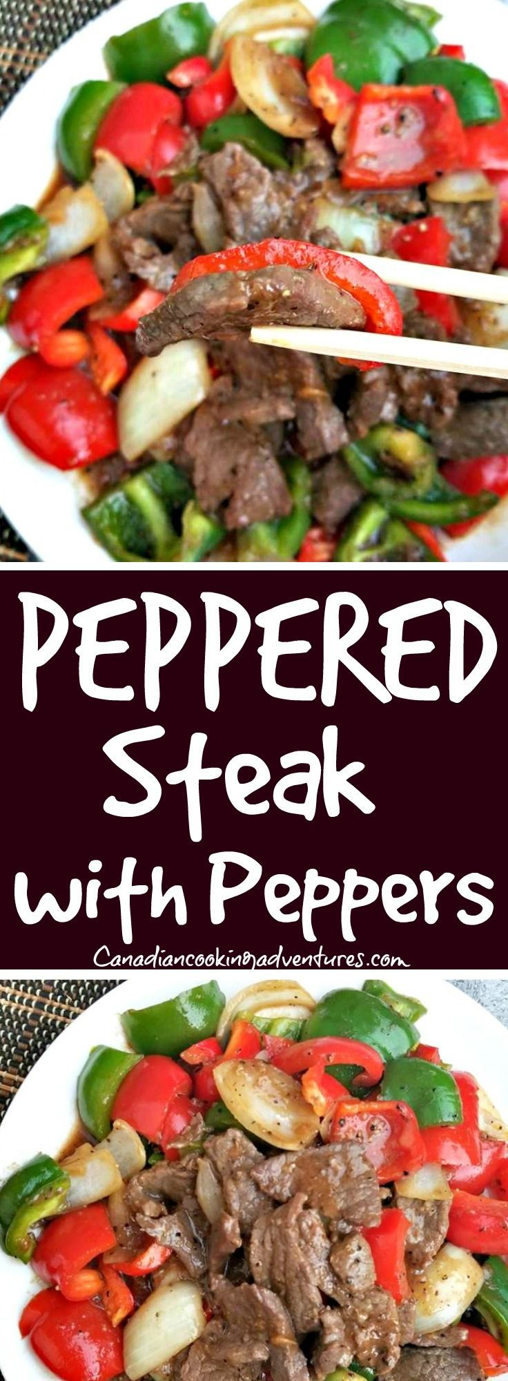 Peppered Steak with Peppers