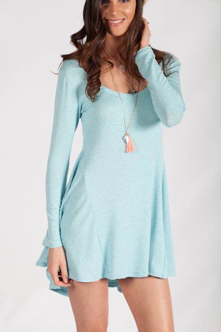 Light blue long sleeve dress boutique