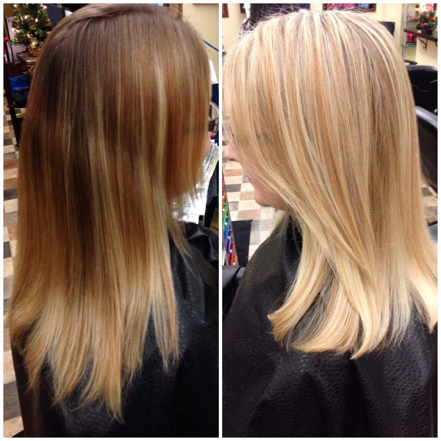 Before And After Dark Roots Lifted To A Nice Bright Blonde With A