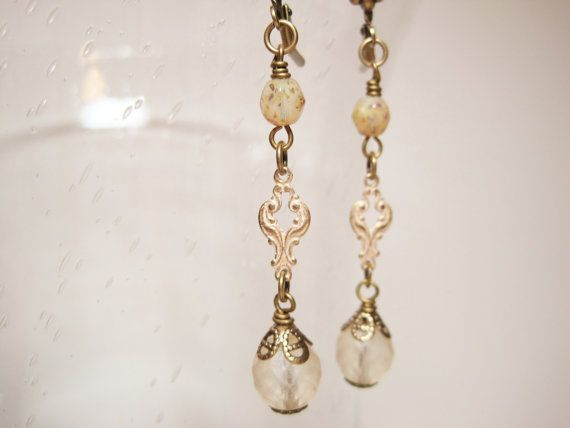 Ivory Cream Opal Glass Earrings Dangles by dfoxjewelrydesigns, $18.95