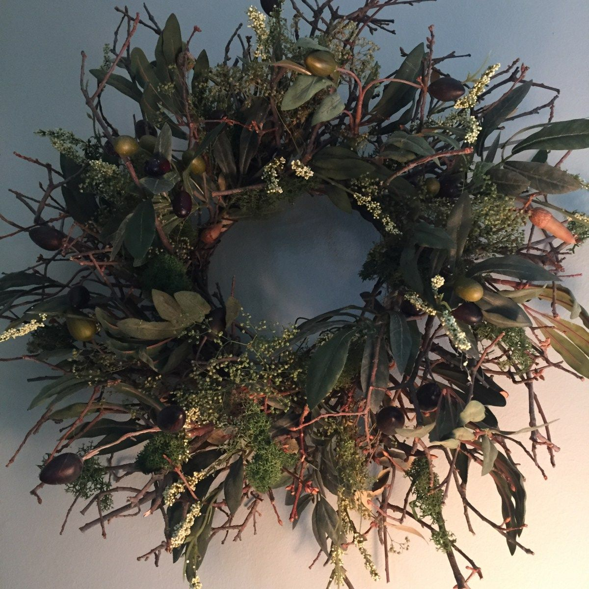 Faux Olive Wreath Olive wreath, Farmhouse decor