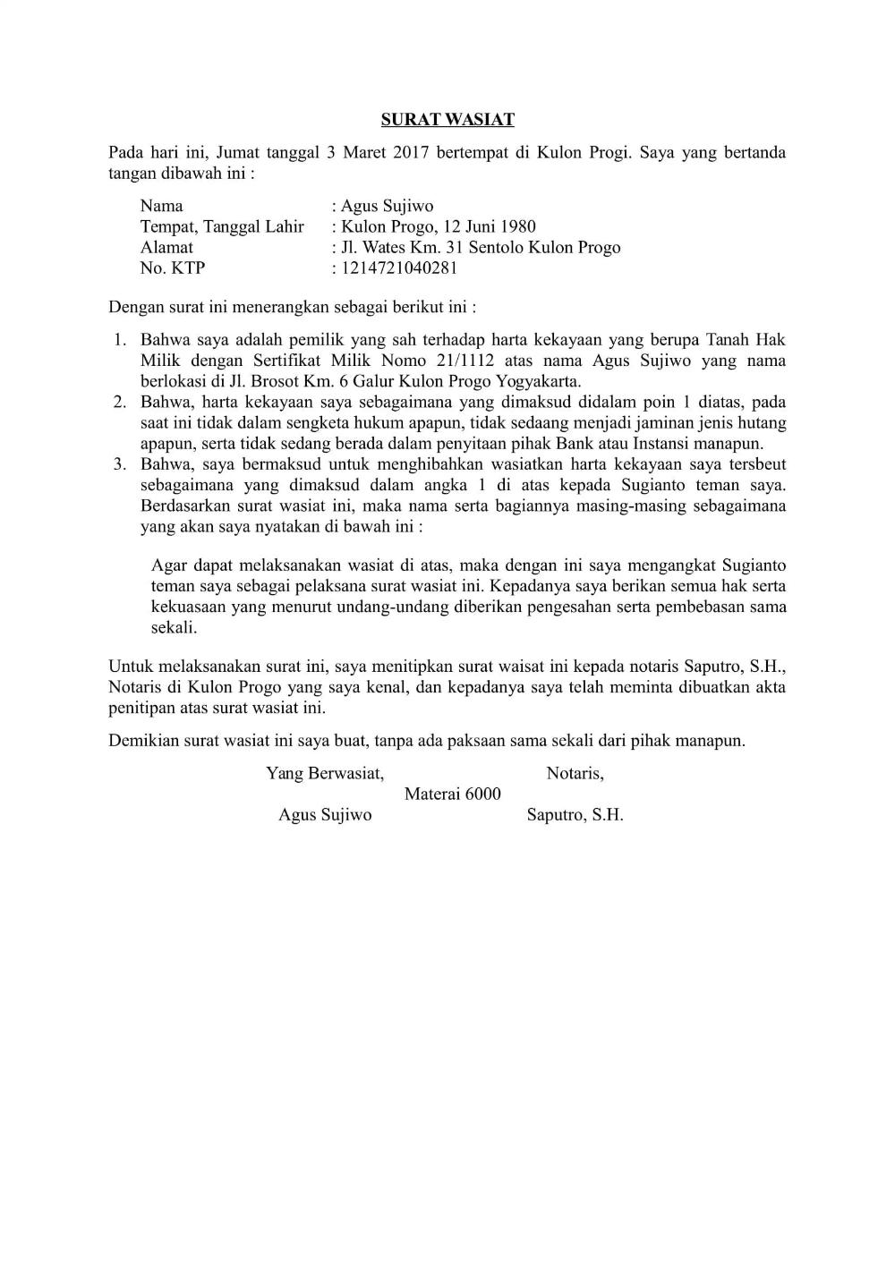 Contoh Surat Wasiat Informasi seputar dunia Militer dan