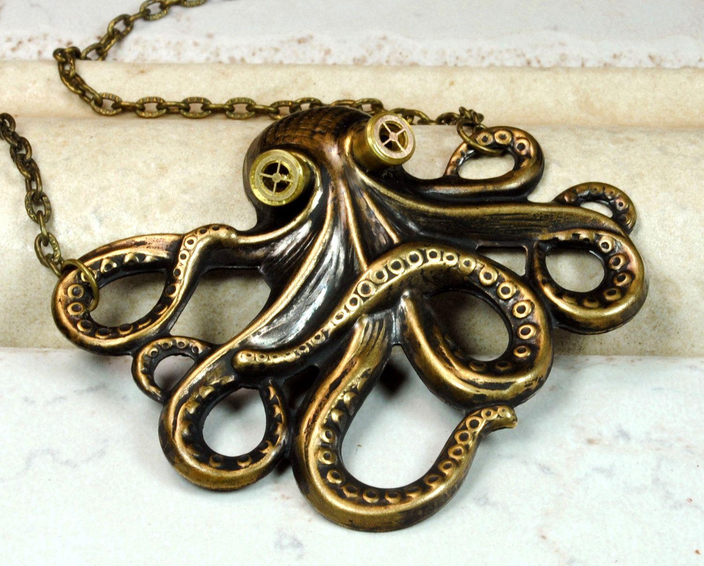 Steampunk winged earrings kraken cthulhu octopus gears