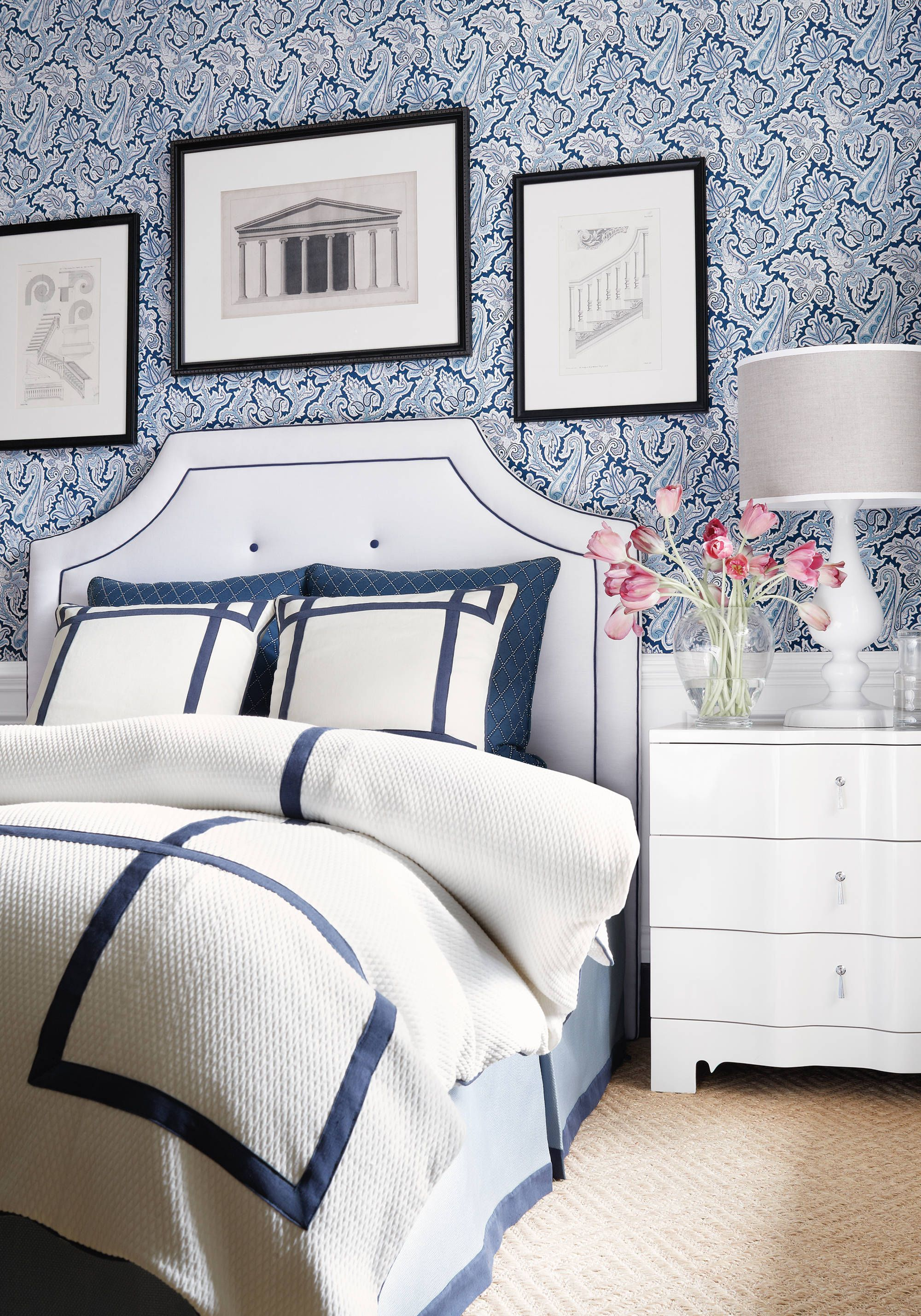 Ridgewood Headboard From Thibaut Fine Furniture In Strathmore Linen Fabric  In Snowflake From Essentials Linens