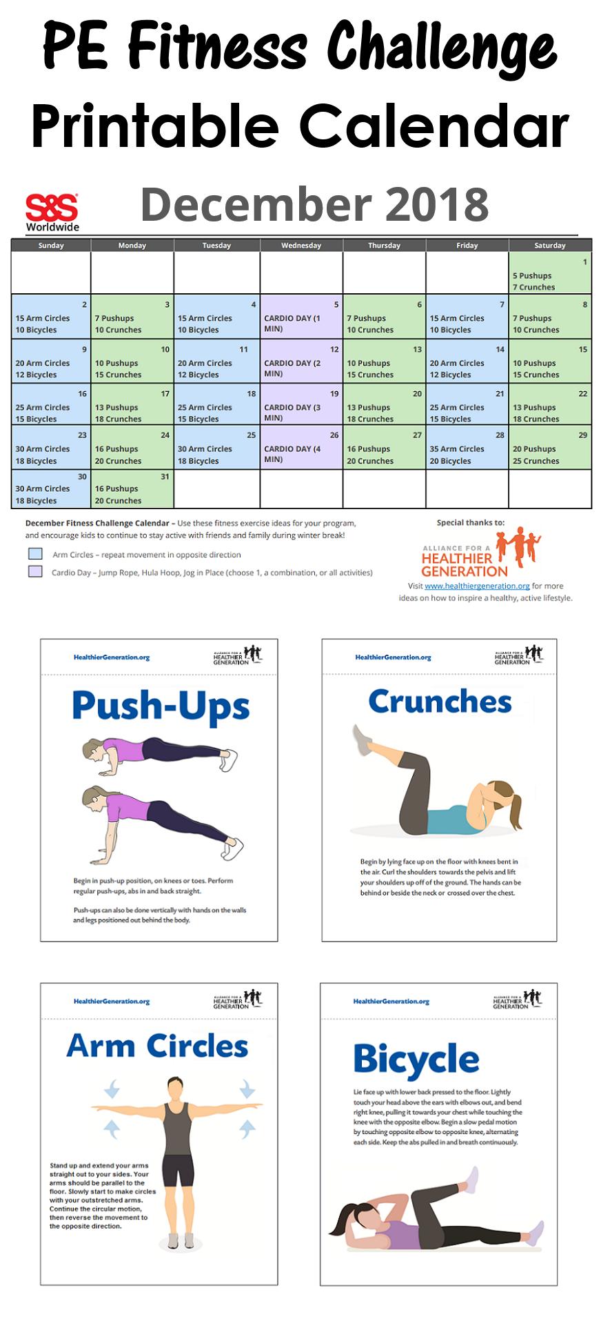 Pin On Printable Fitness Challenge Calendar