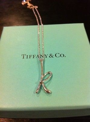 d78287351 Tiffany Co Elsa Peretti Letter Initial K Sterling Silver Necklace | eBay