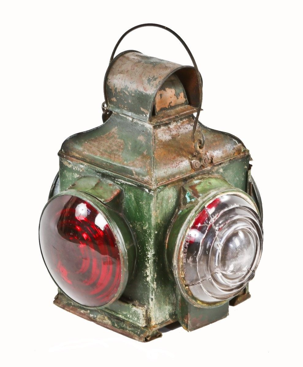 """early 20th century all original antique american industrial """"adlake"""" non-sweating railroad caboose tail or possibly cupola signal lantern with drop handle."""