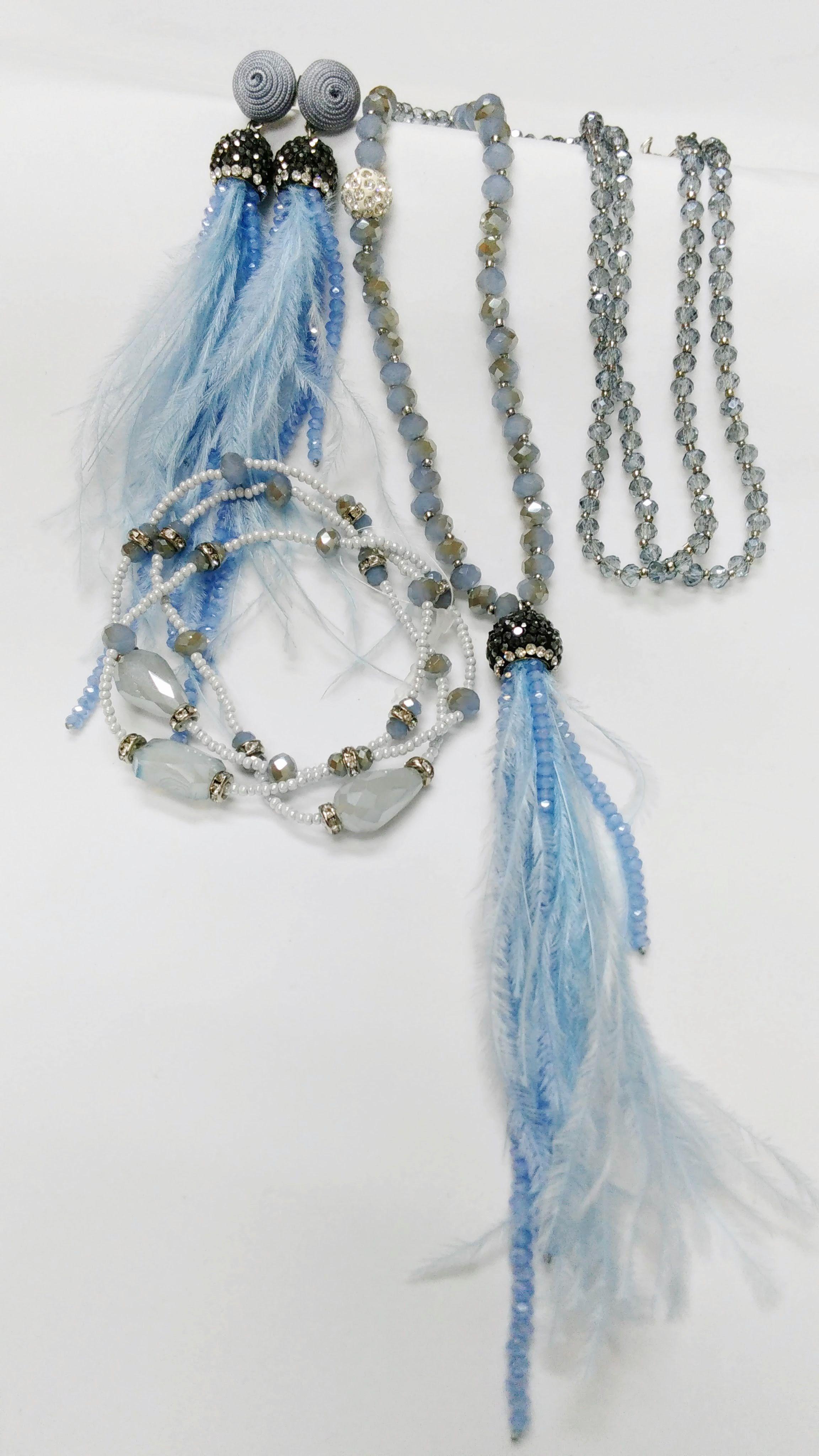 8ee7a9f4a Náhrdelník extravagantný s náramkom, modrá | Módne trendy | Jewelry ...