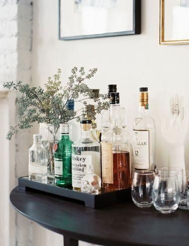 Small Bar Table Half Liquor Cart Drinks Tray