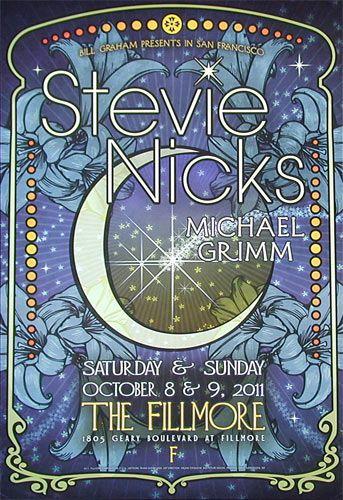 Stevie Nicks 2011 Fillmore Poster F1116 D King Gallery Concert Poster Design Concert Posters Music Poster