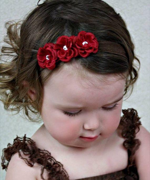 Flower Bow Flower Headband Red Flowers Baby por MyKidsCuterBowtique, $12.99