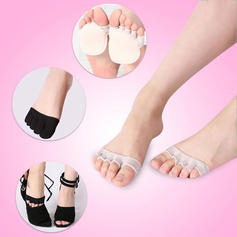Women Girls Non-Slip High Heels Sandal Invisible Half Footie Open Toe Socks Pad