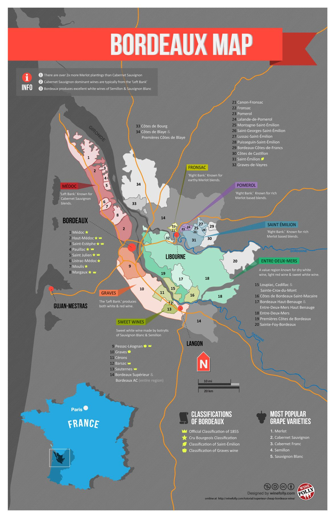 France Bordeaux Wine Map Wine France and Bordeaux region