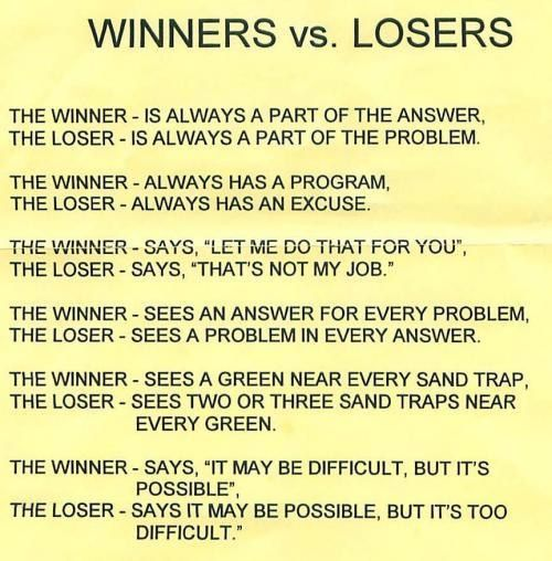 Winners Vs Losers Postive Quotes Attitude Quotes Quotes