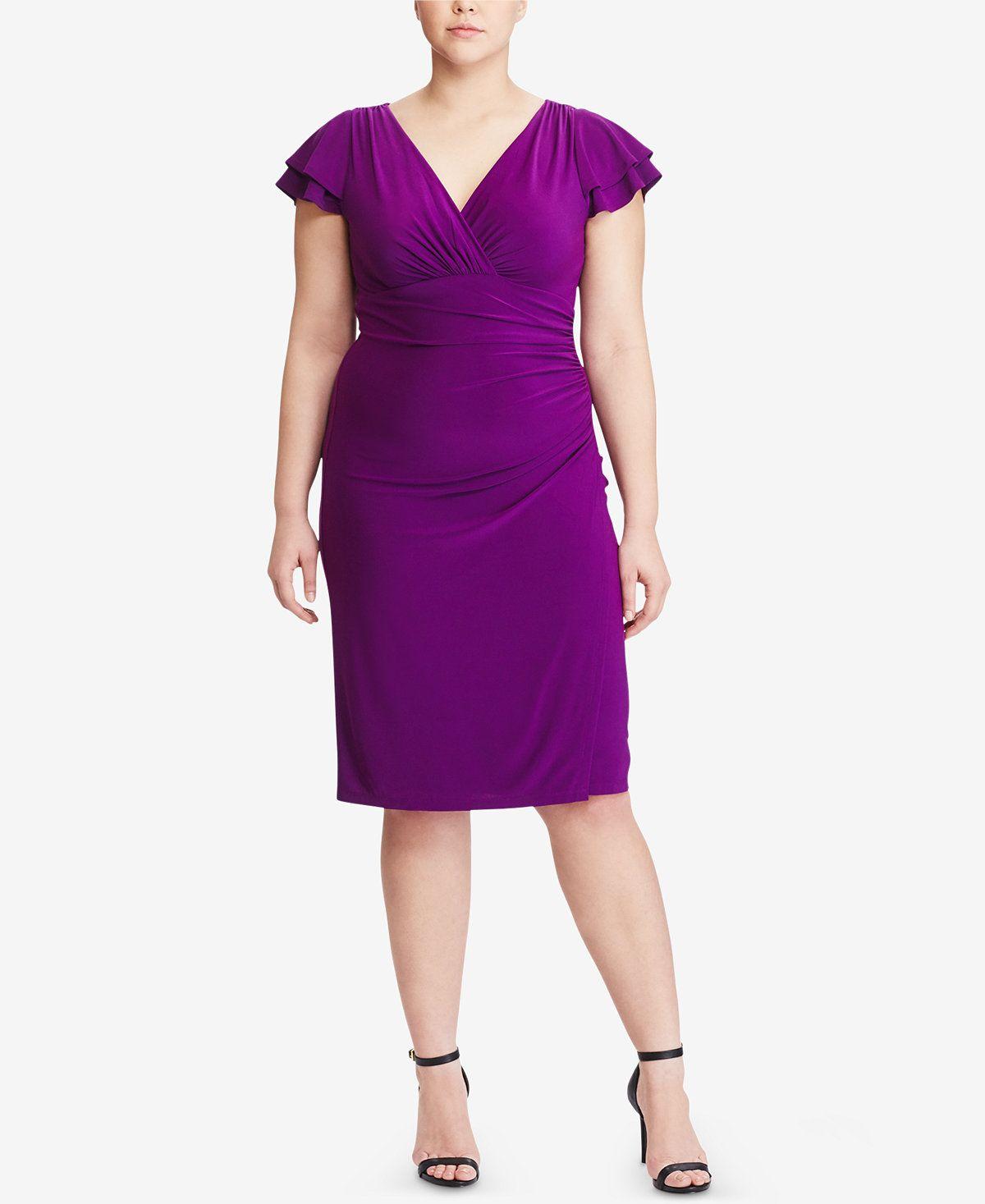 Lauren Ralph Lauren Plus Size Flutter Sleeve Jersey Dress Dresses