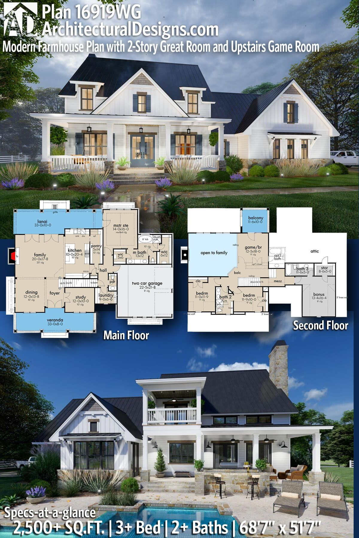 Plan 16919wg Modern Farmhouse Plan With 2 Story Great Room And Upstairs Game Room Modern Farmhouse Plans House Plans Farmhouse Farmhouse Plans