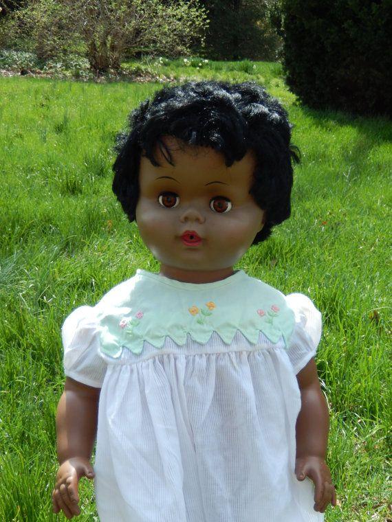 Vintage Vinyl Girl Head with Black Hair