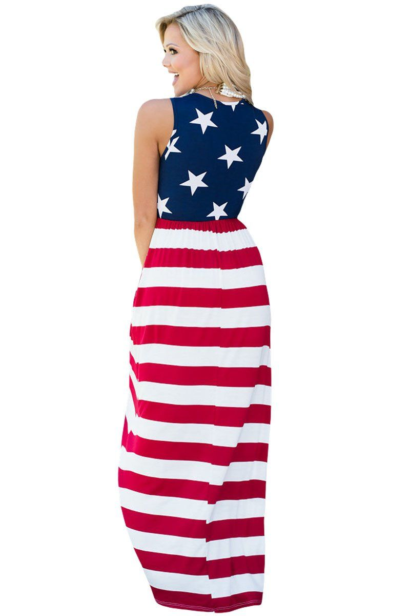 a5e570a3f1f4a Women Maternity Clothes - Womens Casual Dress High Waisted Country Love  American Flag Stripes Summer Casual Sleeveless Long Maxi Dress ** Take a  look at ...