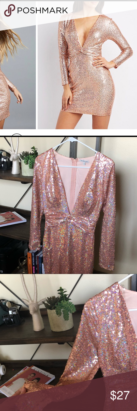 Rose gold sequin dress charlotte russe