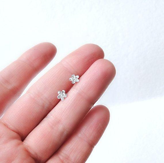 Delicate Sterling Silver Flower Earrings Stud Earrings