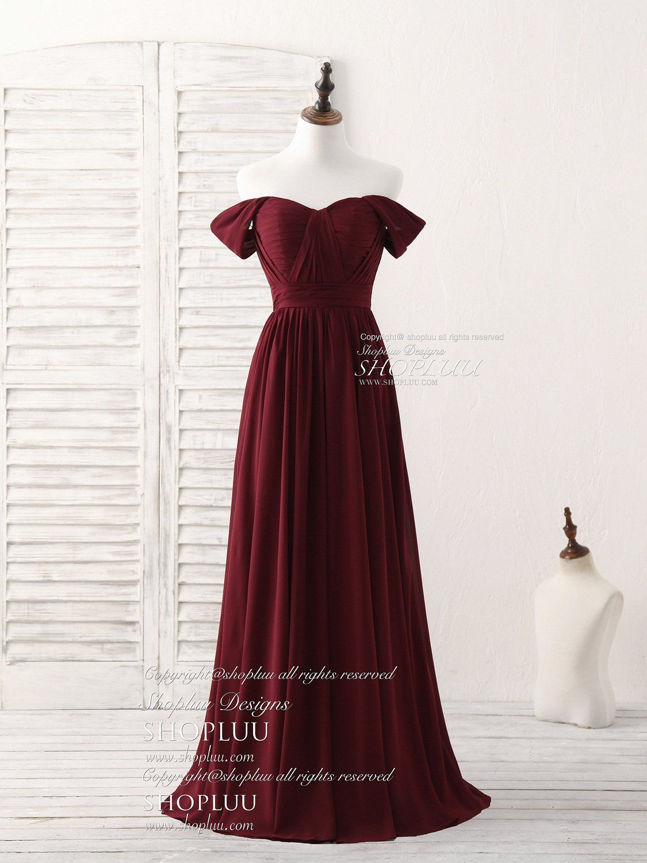 69c8dfb4c9 Burgundy chiffon off shoulder long prom dress burgundy bridesmaid dress