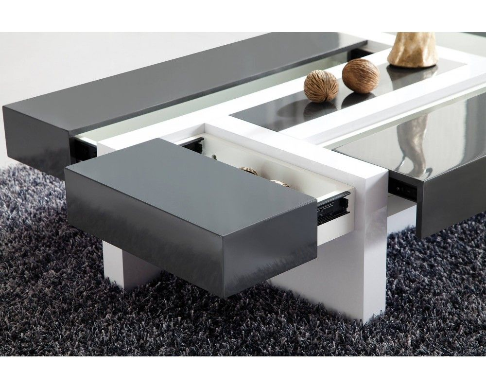 Table basse design quatre tiroirs nora panneaux particules for Table basse ceruse gris