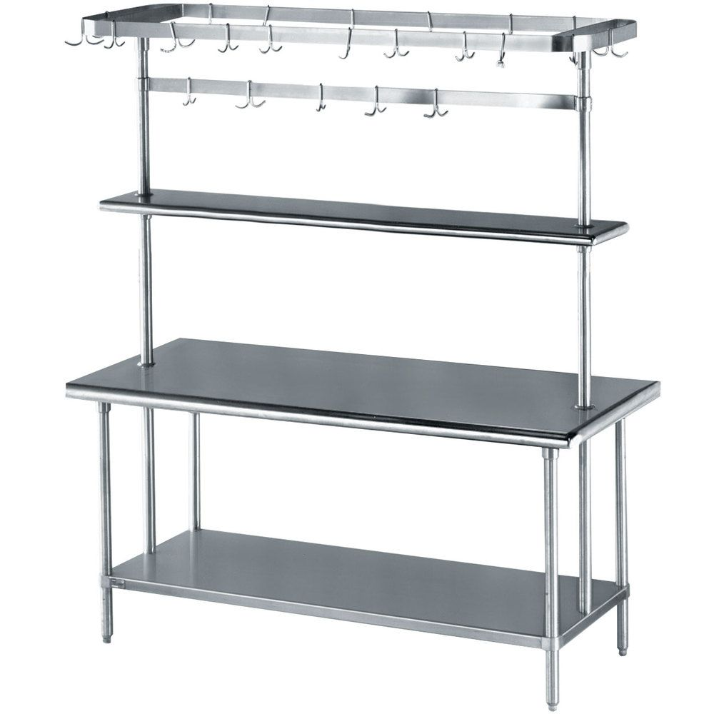Advance Tabco Ms 305 Prsc Stainless Steel Work Table With Undershelf Overshelf And Pot Rack 30 X 60 Stainless Steel Work Table Work Table Table