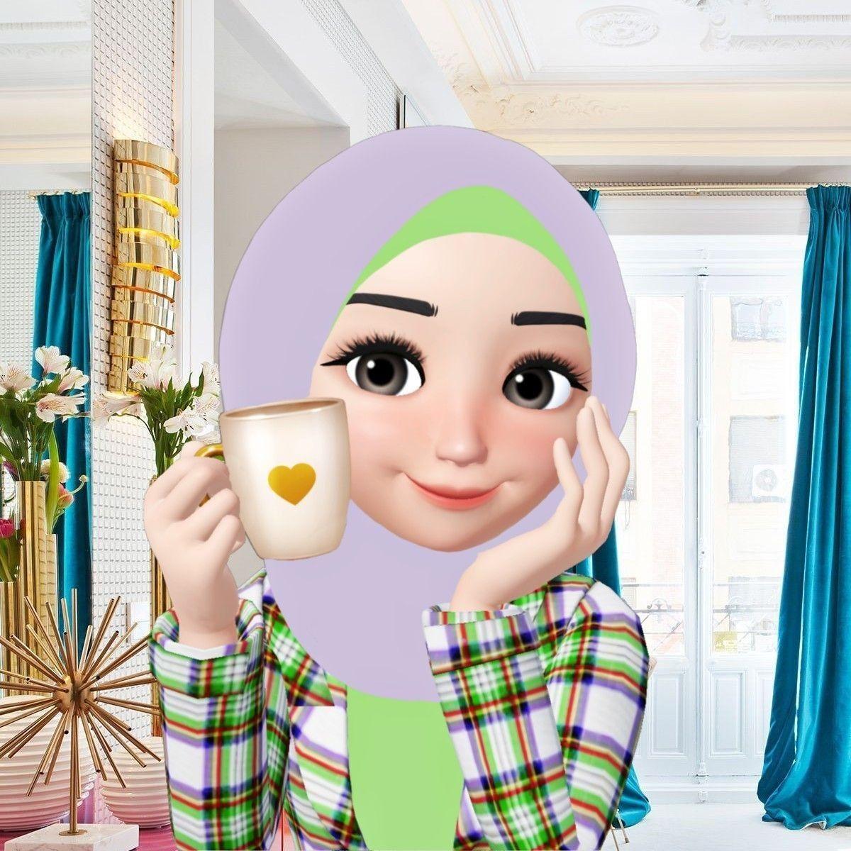 Pin Oleh バン ビ Di Hijab Girls Animation Seni Islamis Ilustrasi Kartun Kartun