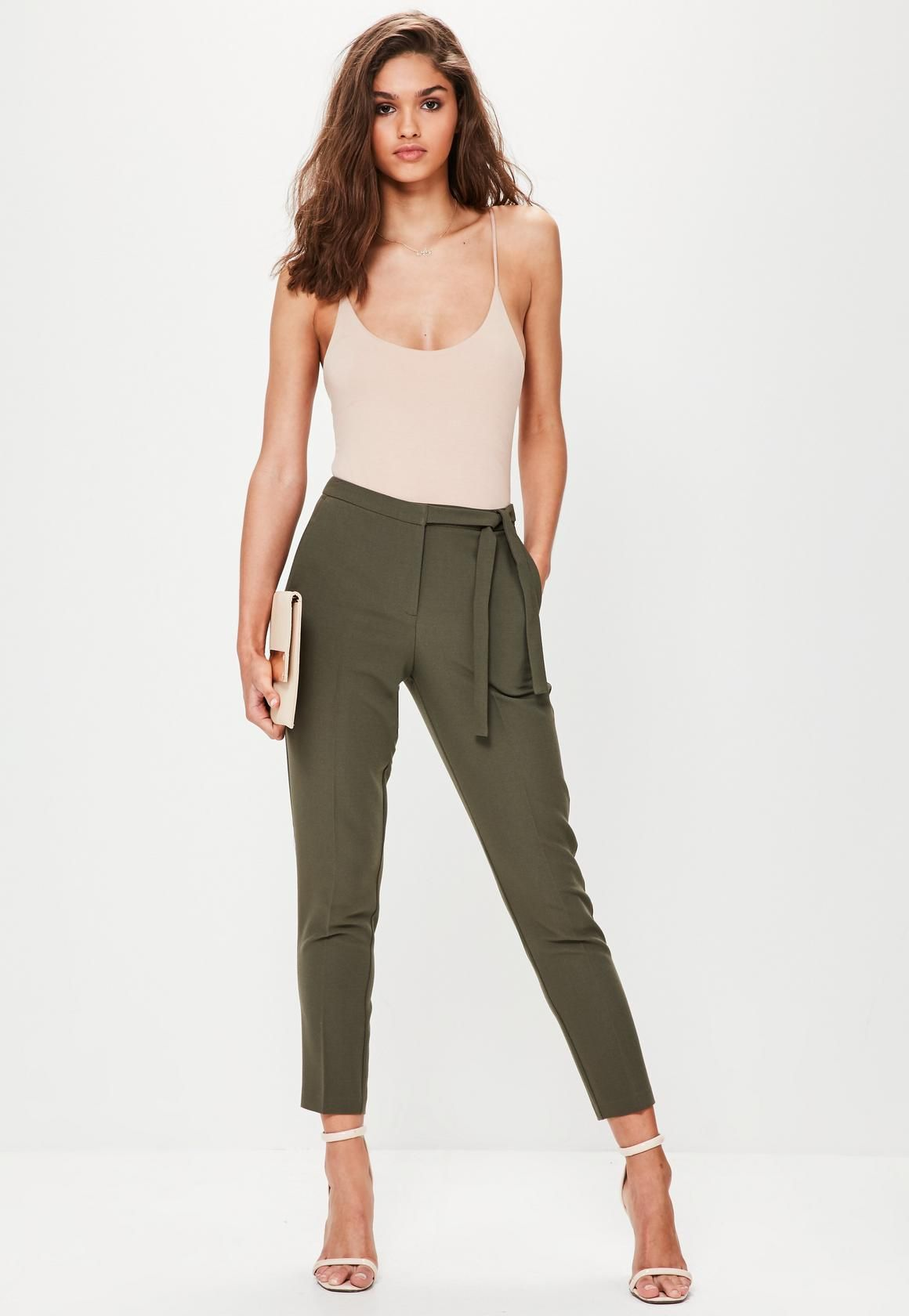 c13cfd4757b9d Missguided - Khaki Tie Belt Crepe High Waisted Trousers