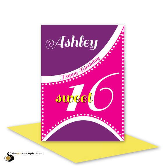 Sweet 16 Birthday Card For Girl Edit Name 16th Happy Birthday For