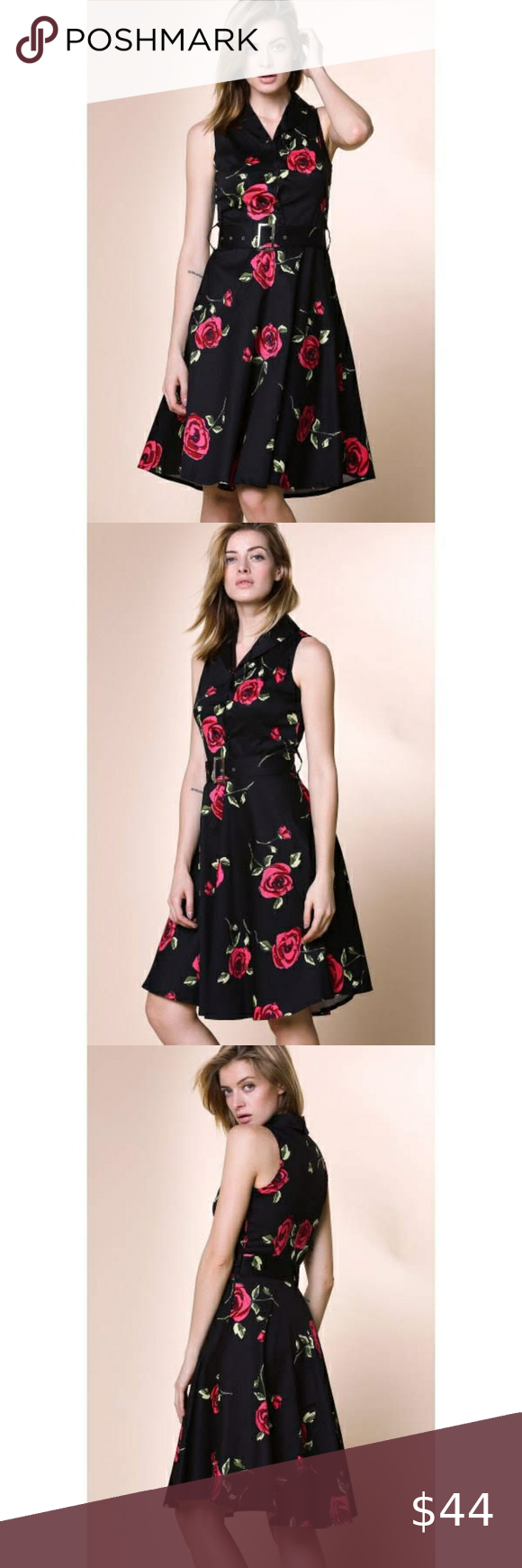 Only 1 Vintage Dress With Roses Black Vintage Style Dress With Roses It Is Sleeveless And Has A V Neck Vintage Dresses Vintage Fashion Vintage Style Dresses [ 1740 x 580 Pixel ]