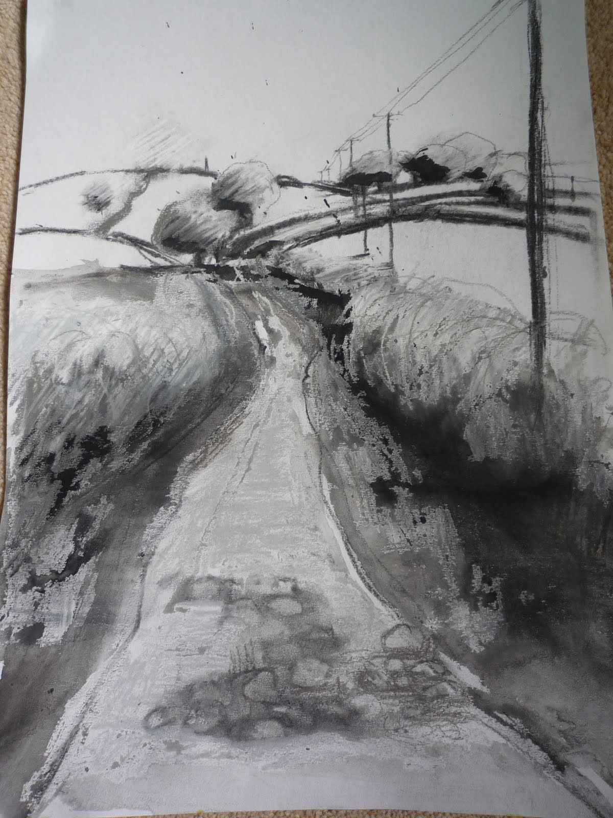 Charcoal sketches of landscapes sketch landscape of greenway