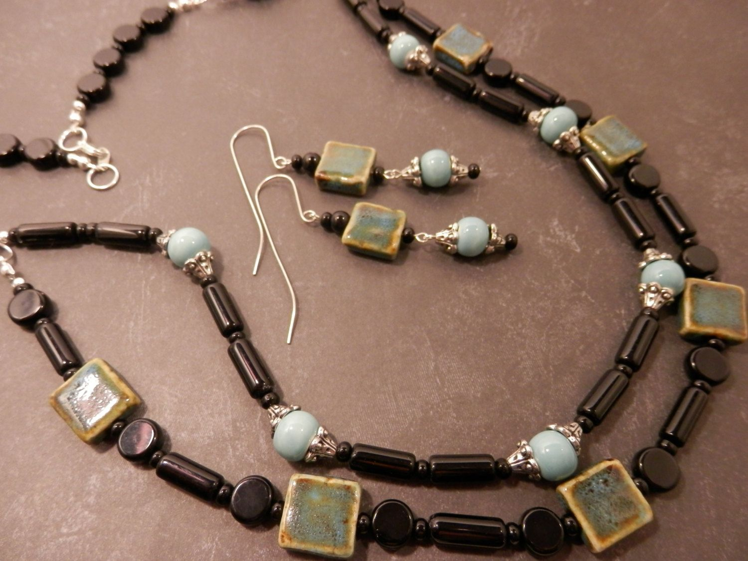 """Handmade Two Strand Black Glass, Aqua & Brown Ceramic Silver 28""""/29"""" Necklace with Matching Earrings by TangledWireDesignsCo on Etsy"""