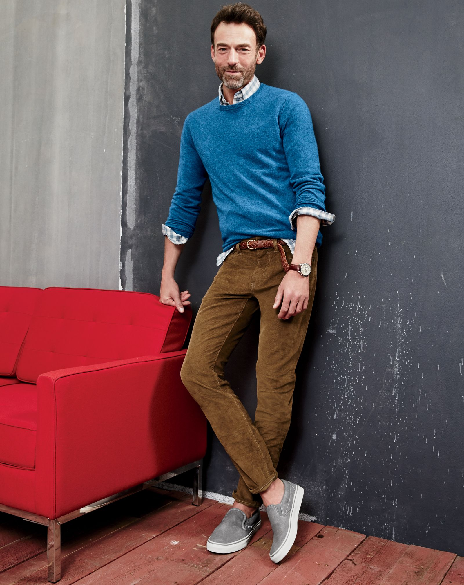 ed5ef8572 J.Crew men's Italian cashmere crewneck sweater, vintage cord in 770 fit and  Vans® for J.Crew washed canvas classic slip-on sneakers.