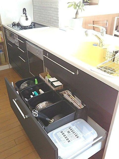 シンク下は100均ゴミ箱でタテ収納 キッチンアイデア インテリア 収納 収納