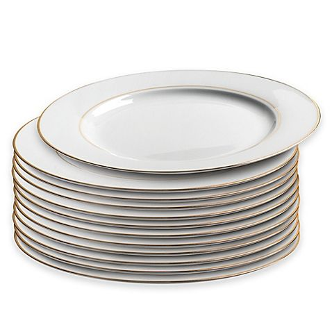 Caterer S Dinner Plate With Double Gold Band Set Of 12 Bed Bath Beyond Plates Dinner Plates Gold Bands