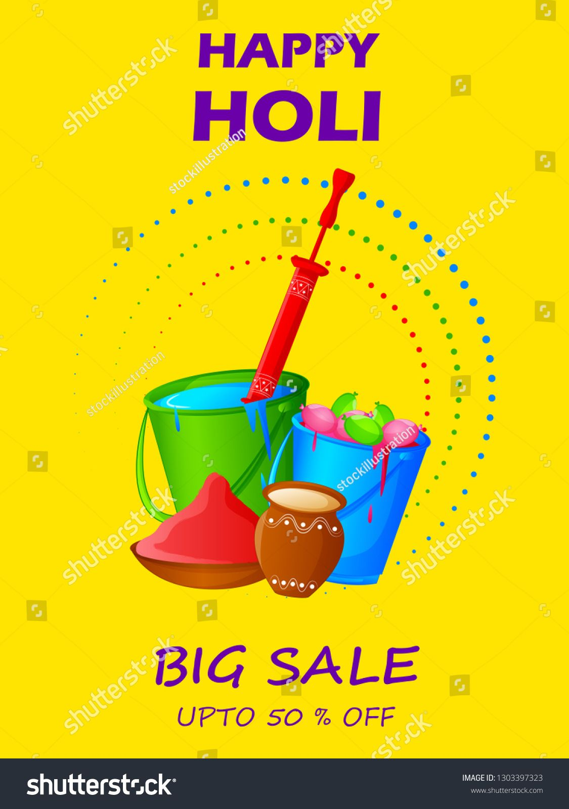 Colorful Traditional Holi Shopping Discount Offer Advertisement