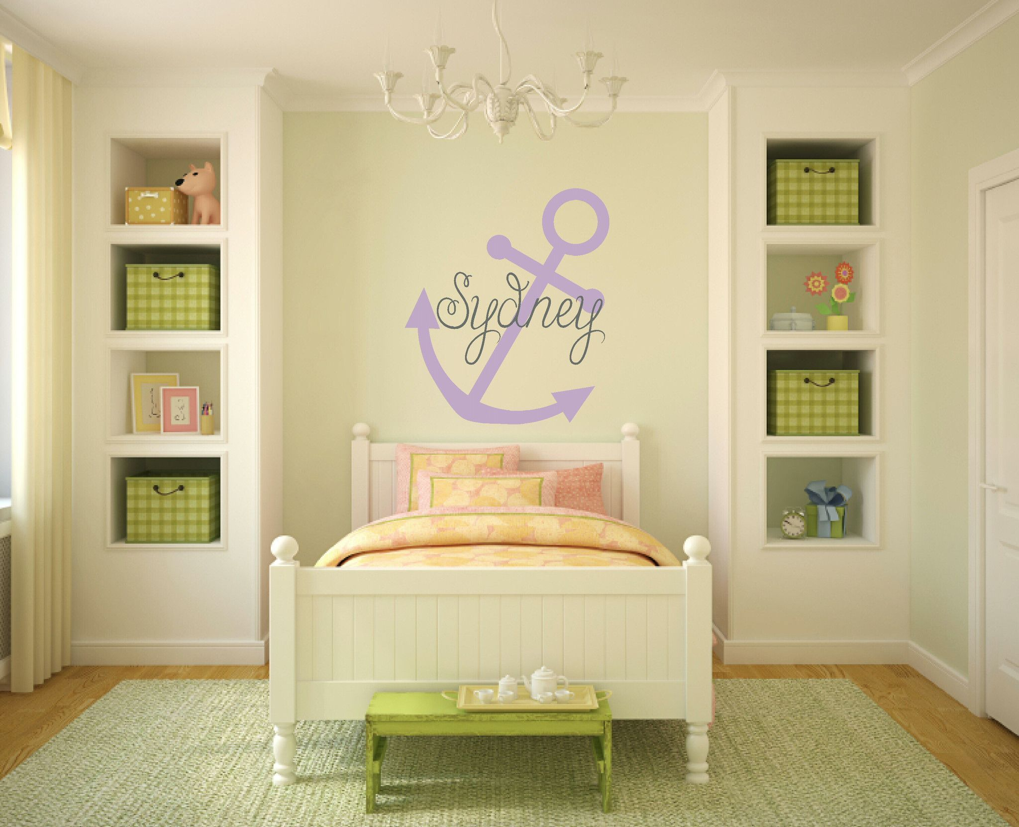 Anchor Wall Decal With Name Nautical Bedroom Decor For Kids | Wall ...