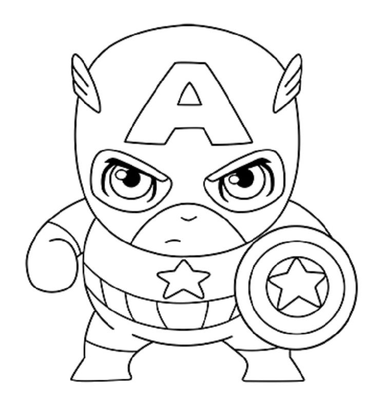 Cute Captain America Coloring Pages Com Imagens Super Heroi