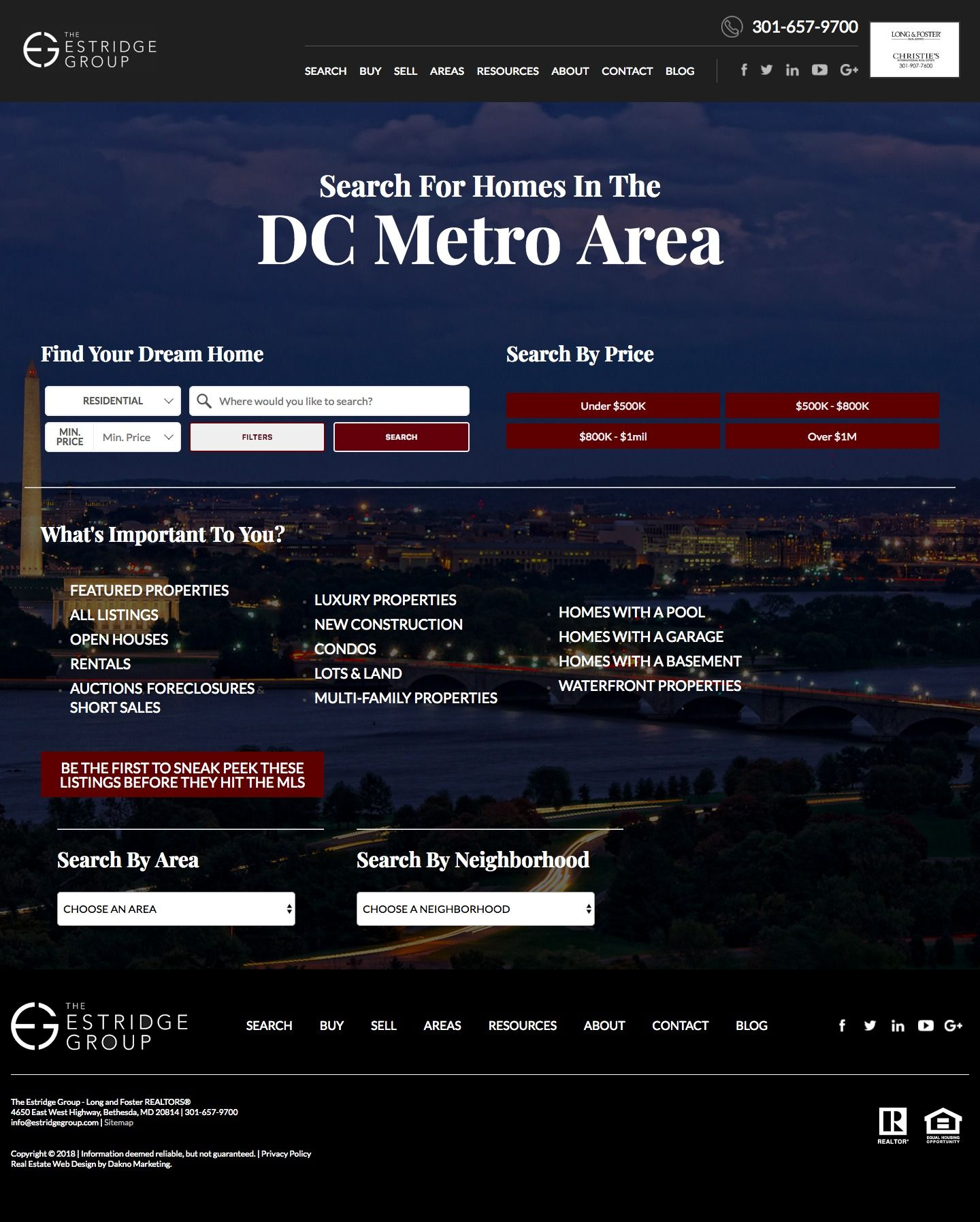 Best Real Estate Search Sites Website In Washington Dc Designs By Dakno Marketing House Search Dc Metro Area Real Estate Search