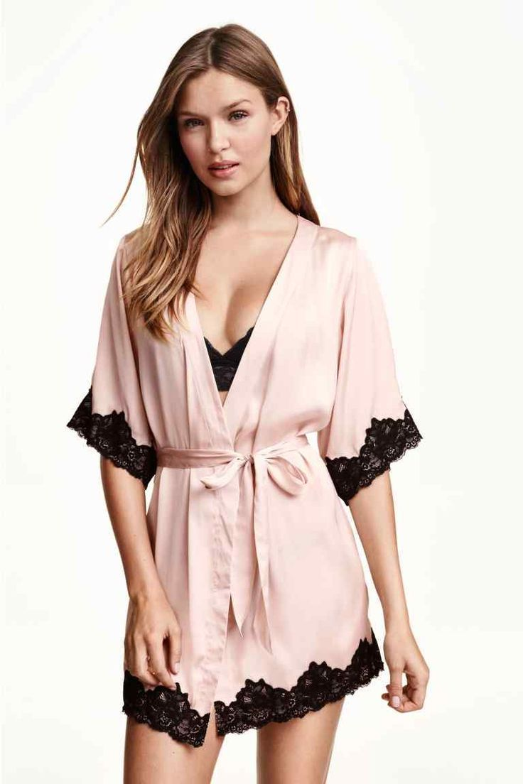 Kimono En Satin Hm Daily Random Pinterest Lingerie Andrew Smith Casual Jacket Hitam M Silk Robe Pink