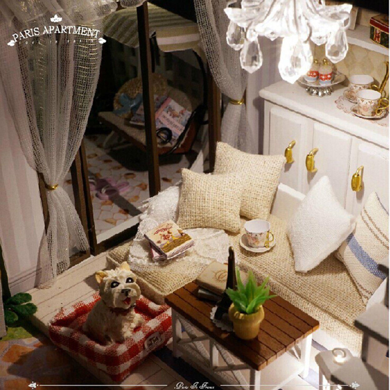 dollhouse miniature furniture. Amazon.com: Rylai Wooden Handmade Dollhouse Miniature DIY Kit - Paris Apartment Dollhouses Furniture