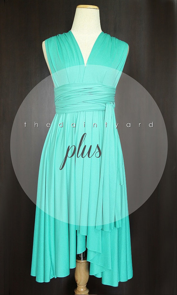 Plus Size Turquoise Bridesmaid Dress Convertible Dress Infinity