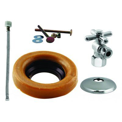 Westbrass Toilet Kit With Turn Stop And Wax Ring Cross Handle Toilet Installation Steel Supply Toilet Bowl Ring