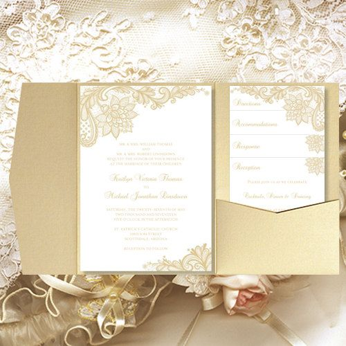 Print Your Own Wedding Invitations Templates: Pocket Fold Wedding Invitations Vintage Lace By