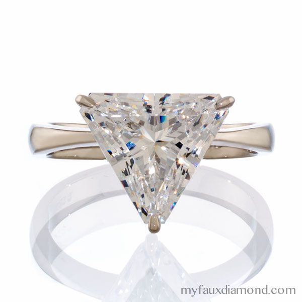 Cubic Zirconia Triangle Cut Solitaire Gold Ring My Faux Diamond