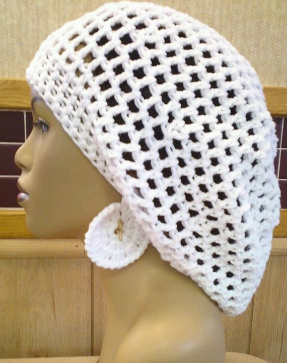 Crochet White Slouch hat Slouchy Beret with free by ScarFanatic ...